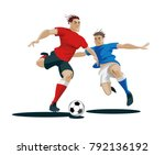 players are fighting for the... | Shutterstock .eps vector #792136192