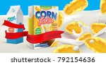 corn flakes box advertising... | Shutterstock .eps vector #792154636