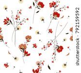 Retro wild flower pattern in the many kind of florals. Botanical  Motifs scattered random. Seamless vector texture. For fashion prints. Printing with in hand drawn style on white background.