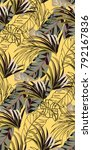 yellow tropical vintage pattern ...   Shutterstock .eps vector #792167836