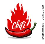 red hot chili pepper with... | Shutterstock .eps vector #792172435