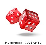 red game dice in flight. casino ...