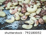 cashew nuts unroasted raw in... | Shutterstock . vector #792180052