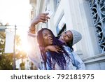 portrait of two beautiful young ...   Shutterstock . vector #792181975