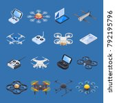 drones isometric icons with... | Shutterstock .eps vector #792195796
