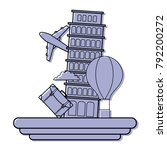 color leaning tower of pisa...   Shutterstock .eps vector #792200272