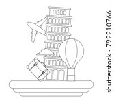 dotted shape leaning tower of...   Shutterstock .eps vector #792210766