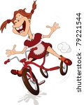 The Cheerful Girl And Tricycle...