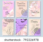 a set of cards with flowers  ... | Shutterstock .eps vector #792226978