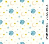 seamless pattern with moon and...   Shutterstock .eps vector #792231016