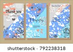 a set of cards with flowers  ... | Shutterstock .eps vector #792238318