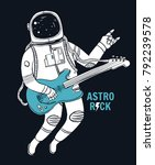 astronaut playing guitar with... | Shutterstock .eps vector #792239578