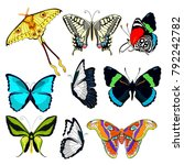 set butterfly ornithoptera...   Shutterstock .eps vector #792242782