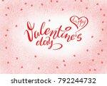 happy valentine s day postcard. ... | Shutterstock . vector #792244732