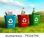 colored trash bins used to...   Shutterstock . vector #79224796