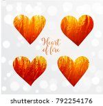 hearts made of fire on white... | Shutterstock .eps vector #792254176