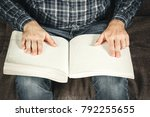 the blind man was reading a... | Shutterstock . vector #792255655