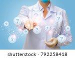 physician clicks on the button...   Shutterstock . vector #792258418