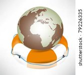 the globe and lifebuoy ring.... | Shutterstock .eps vector #79226335