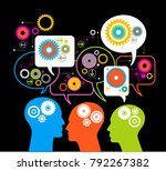 ilhouettes of people's heads... | Shutterstock .eps vector #792267382