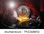 bitcoin coins in a soap bubble  ... | Shutterstock . vector #792268852
