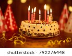 happy birthday cake with candles   Shutterstock . vector #792276448