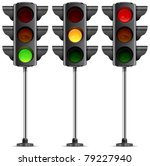three traffic lights with three ... | Shutterstock .eps vector #79227940