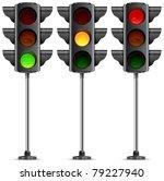three traffic lights with three ...   Shutterstock .eps vector #79227940