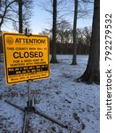 Small photo of Cranford, NJ, USA January 1, 2018 A sign warns people going to a public park that the area will be closed to allow for deer hunting.