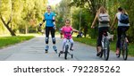 group of cyclists following a... | Shutterstock . vector #792285262