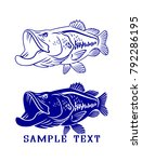 drawing bass fish  | Shutterstock .eps vector #792286195