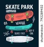 skate board vector... | Shutterstock .eps vector #792289432