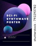 synthwave futuristic minimal... | Shutterstock .eps vector #792293782