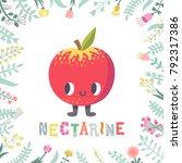 cute cartoon nectarine... | Shutterstock .eps vector #792317386