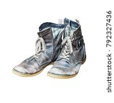 old used worn out boots... | Shutterstock . vector #792327436
