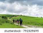 group walking the south downs... | Shutterstock . vector #792329695