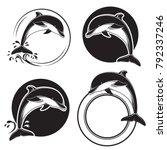 set of vintage dolphin icons ... | Shutterstock .eps vector #792337246
