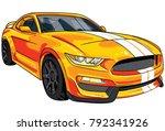 illustration of yellow  sport... | Shutterstock .eps vector #792341926
