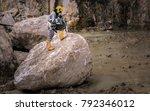 worker with helmet and... | Shutterstock . vector #792346012