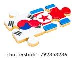 north korea and south korea... | Shutterstock . vector #792353236