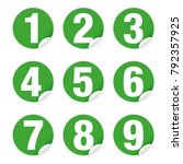 number set sticker green vector | Shutterstock .eps vector #792357925