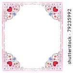 abstract hearts and flowers frame - stock vector