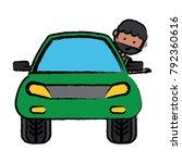 cartoon man and car icon   Shutterstock .eps vector #792360616