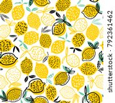 lemon seamless pattern vector... | Shutterstock .eps vector #792361462