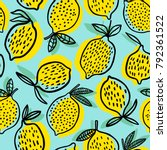 lemon seamless pattern vector... | Shutterstock .eps vector #792361522
