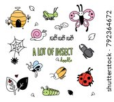 colorful doodles of insects.... | Shutterstock .eps vector #792364672