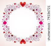 decorative hearts and flowers frame - stock vector