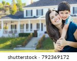 young mother and son in front... | Shutterstock . vector #792369172