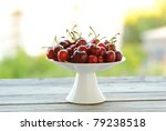 Fresh Red Cherries On A Stand...