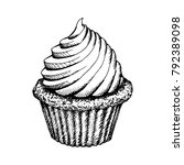 cupcake sketch icon isolated on ... | Shutterstock .eps vector #792389098